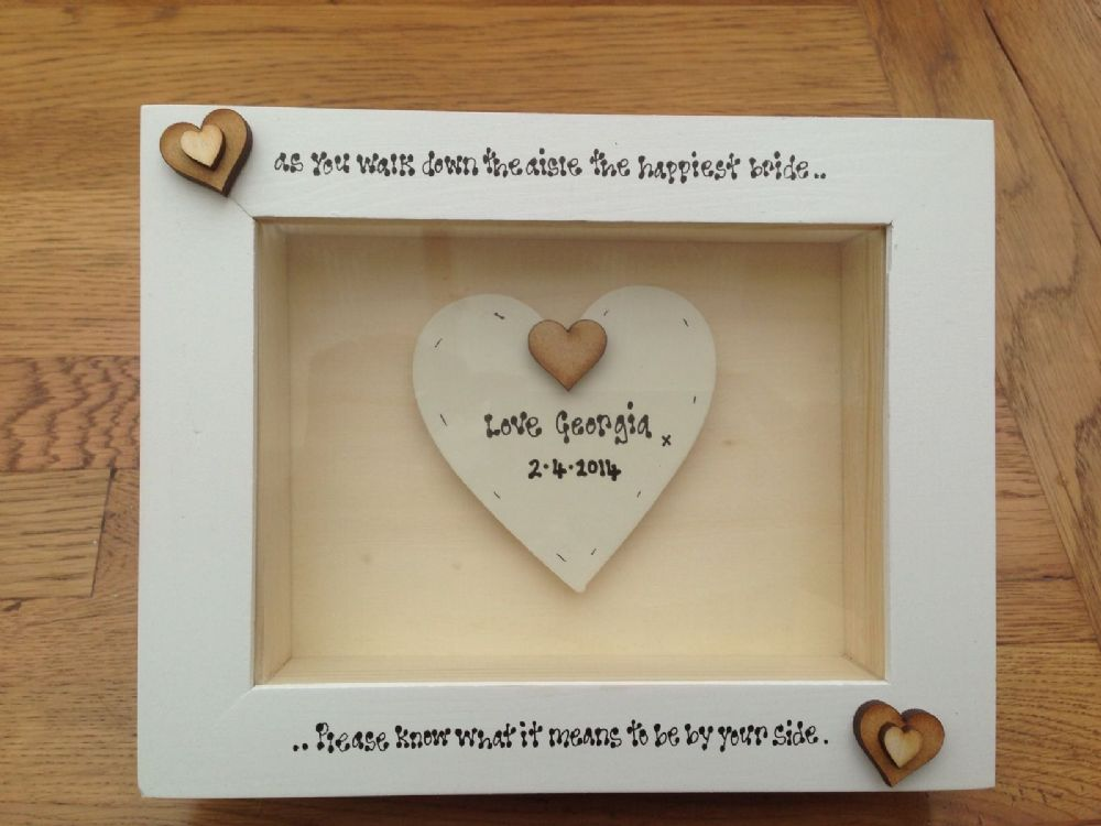Gifts For Bride On Wedding Day From Bridesmaid: Shabby Personalised Chic Box Frame Gift For Bride On Her